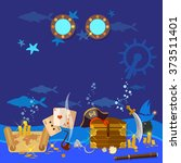 underwater treasure pirate...   Shutterstock .eps vector #373511401