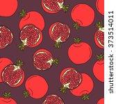 fresh pomegranates hand drawn...   Shutterstock .eps vector #373514011