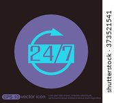 24 7 icon. open 24 hours a day... | Shutterstock .eps vector #373521541