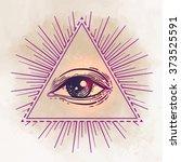 eye of providence. masonic... | Shutterstock .eps vector #373525591