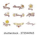 set of honey and bee logo.... | Shutterstock .eps vector #373544965