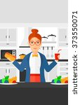 woman with fast food. | Shutterstock .eps vector #373550071