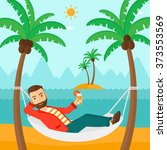 man chilling in hammock. | Shutterstock .eps vector #373553569