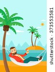 man chilling in hammock. | Shutterstock .eps vector #373553581