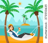 woman chilling in hammock. | Shutterstock .eps vector #373553635