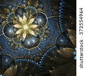 Gold And Blue Fractal Flower ...