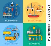 flat 2x2 images presenting oil... | Shutterstock .eps vector #373557535