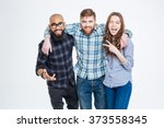 group of happy three friends in ... | Shutterstock . vector #373558345