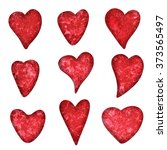 watercolor red hearts icons set ... | Shutterstock . vector #373565497