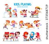 big set of happy cartoon kids... | Shutterstock .eps vector #373568719