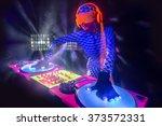sexy female dj mixes in a club  ... | Shutterstock . vector #373572331