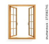 open wooden window isolated on... | Shutterstock . vector #373582741