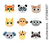 collection of cute animal faces ... | Shutterstock .eps vector #373588507