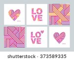 set of greeting cards with... | Shutterstock .eps vector #373589335