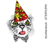 cat portrait in a party hat... | Shutterstock .eps vector #373591594