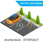 isometric electric car parking. ... | Shutterstock .eps vector #373592617