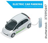 isometric electric car parking. ... | Shutterstock .eps vector #373592647