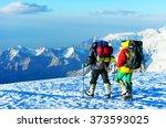 mountaineer climb to the high... | Shutterstock . vector #373593025