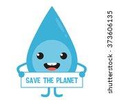 cartoon water drop character... | Shutterstock .eps vector #373606135