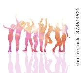 crowd of party people with... | Shutterstock .eps vector #373614925