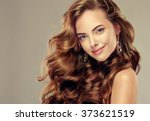 beautiful girl with long wavy... | Shutterstock . vector #373621519