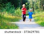 little boy and toddler girl... | Shutterstock . vector #373629781