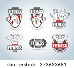 fitness logo templates set. gym ... | Shutterstock .eps vector #373633681