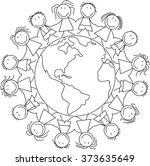 kids holding hands on world   ... | Shutterstock .eps vector #373635649