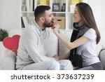 valentines couple. girl feeding ... | Shutterstock . vector #373637239