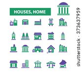 houses  home  buildings  icons  ... | Shutterstock .eps vector #373637959