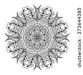 vector black mandala on white... | Shutterstock .eps vector #373644385