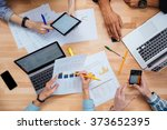 group of people working with... | Shutterstock . vector #373652395