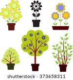 flower  trees  bushes   Shutterstock .eps vector #373658311