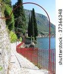 Path to the villa Monastero, lake Como, Italy - stock photo