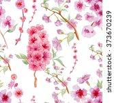 pink cherry sakura flowers... | Shutterstock . vector #373670239