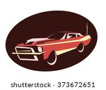 red muscle car. flat style.... | Shutterstock .eps vector #373672651