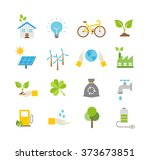 ecology icons  protection of... | Shutterstock .eps vector #373673851