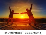 couple of snowboarders on the... | Shutterstock . vector #373675045