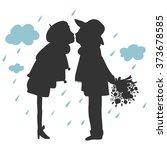 silhouette of lovers kissing in ...   Shutterstock .eps vector #373678585