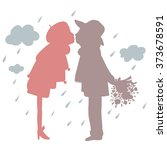 silhouette of lovers kissing in ... | Shutterstock .eps vector #373678591