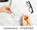 woman architector at work...   Shutterstock . vector #373682065