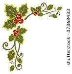 christmas  pattern with holly... | Shutterstock .eps vector #37368433