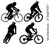set silhouette of a cyclist... | Shutterstock .eps vector #373687057