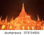 shwedagon pagoda at night in... | Shutterstock . vector #373714501