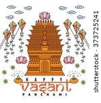 vasant panchami flat thin line...   Shutterstock .eps vector #373725241