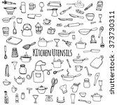hand drawn doodle kitchen... | Shutterstock .eps vector #373730311