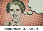 pop art comic style woman with... | Shutterstock . vector #373736215