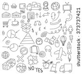 collection of doodle... | Shutterstock .eps vector #373737421