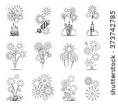 firework icons set. black line... | Shutterstock .eps vector #373742785