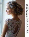 beautiful blonde bride in...   Shutterstock . vector #373749151